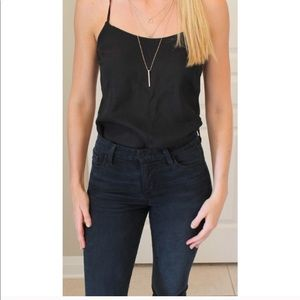 J crew racer back black silk tank top sz 4